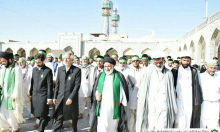گزارش تصویری ورود بیست و پنجمین سفر کاروان پیاده زیارتی امام رضا علیه السلام به حرم ثامن الحج