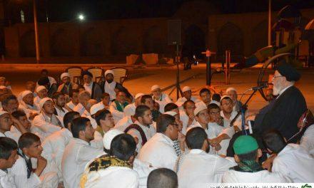 حضور آیت الله آسیدکاظم مدرسی   در جمع زائرین پیاده (رباط پشت بادام)