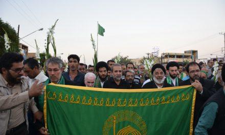 گزارش تصویرے مراسم استقبال از ڪاروان پیاده زیارتے امام رضا علیه السلام_بافق با حضور خدام حرم مطهر رضوی
